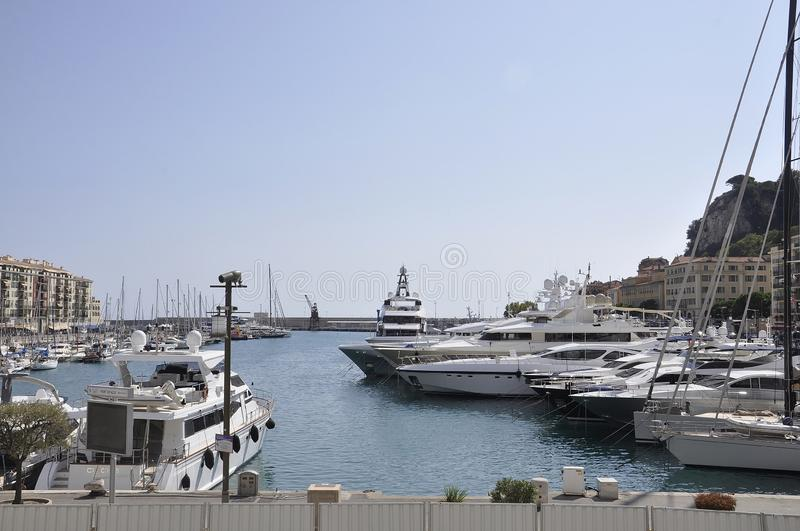 Nice, 5th september: Boats and Yachts in Port Lympia from Nice on French Riviera royalty free stock photos