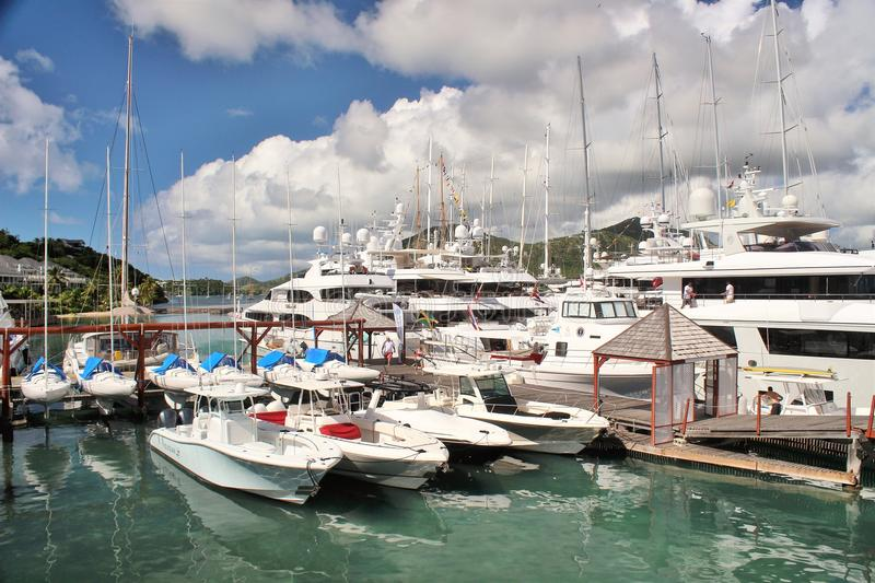 Boats and yahts docked - December 4, 2016 - boast and yachts docked at a Marina on the island of Antigua stock images
