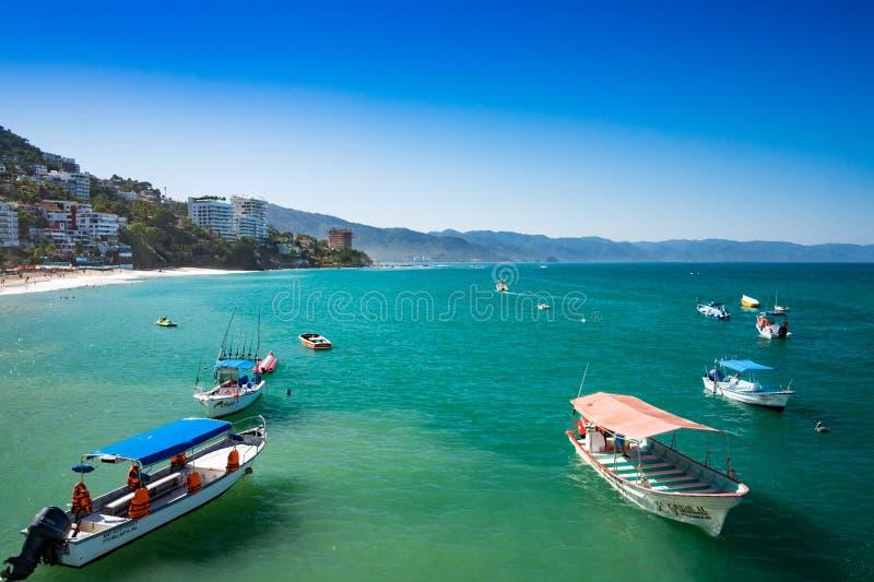 Boats in Yelapa, Jalisco, Mexico stock image