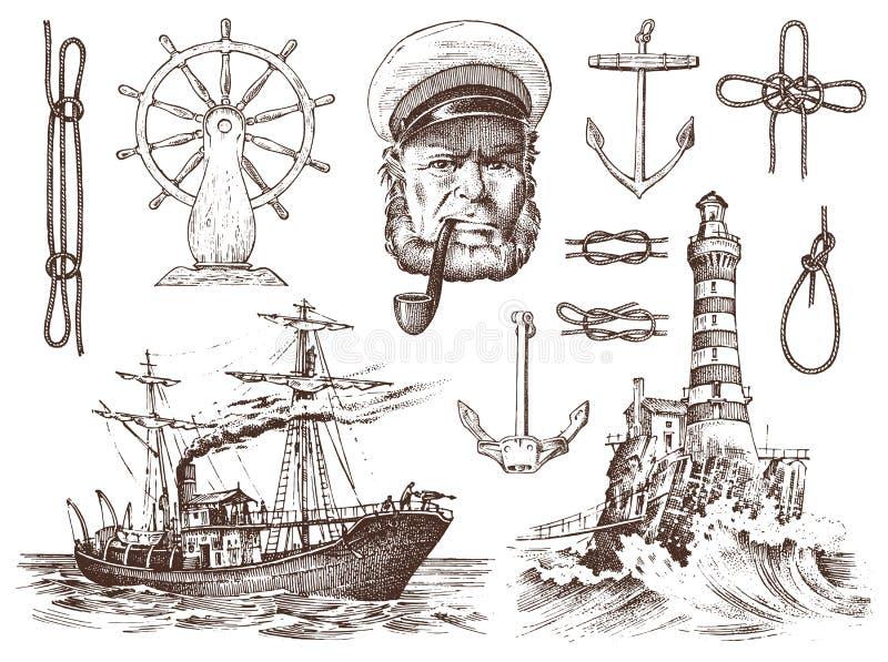 Boatswain con el tubo Faro y capitán de mar, marinero marino, viaje náutico en nave vintage dibujado mano grabado libre illustration
