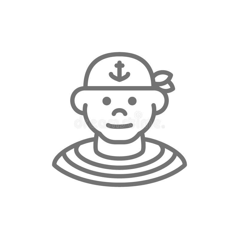 Boatswain, marin, ligne icône de pirate D'isolement sur le fond blanc illustration de vecteur