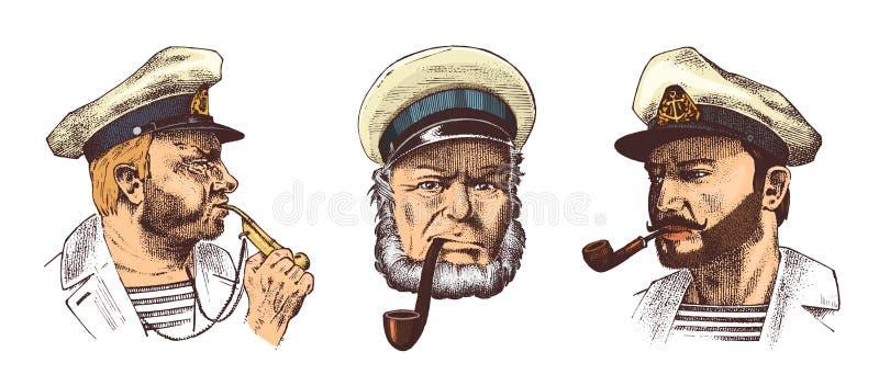 Boatswain met pijp Portret van een zeekapitein, een Mariene oude zeeman of bluejacket, een fluitje en een zeeman met baard of men stock illustratie