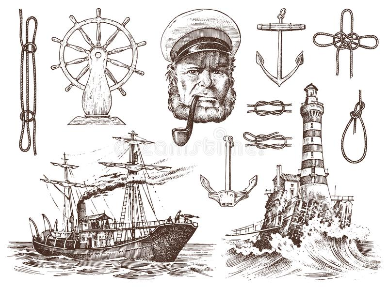 Boatswain with pipe. Lighthouse and sea captain, marine sailor, nautical travel by ship. engraved hand drawn vintage royalty free illustration