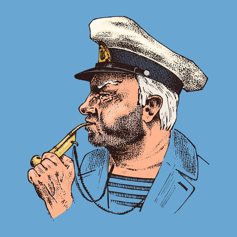 Boatswain z drymbą denny kapitan, morski stary żeglarz, bluejacket, gwizd, żeglarz z brodą lub mężczyzna żeglarz, Podróż ilustracja wektor