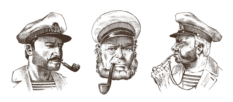 Boatswain z drymbą Portret denny kapitan, Morski stary żeglarz, bluejacket, gwizd, żeglarz z brodą lub mężczyzna, royalty ilustracja