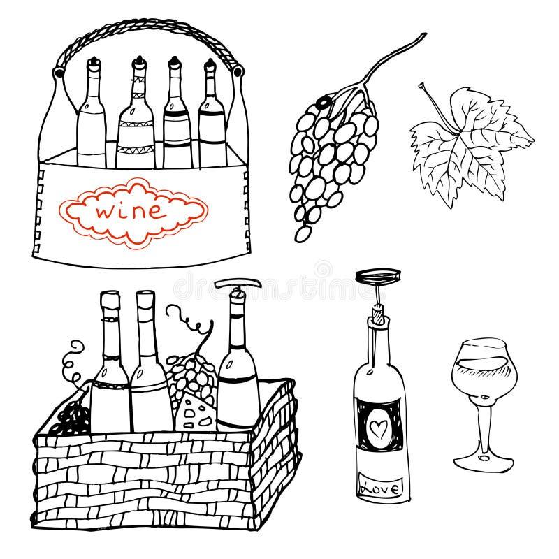 Boattles y vidrios del vino en sistema de la cesta imagen de archivo