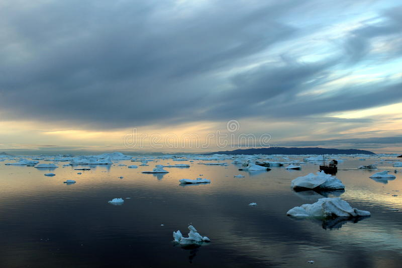 Boattrip in the evening, illulisat, Greenland royalty free stock photo