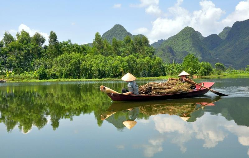Boatwomen of Vietnam stock image
