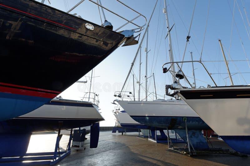 Boatyard do inverno foto de stock royalty free