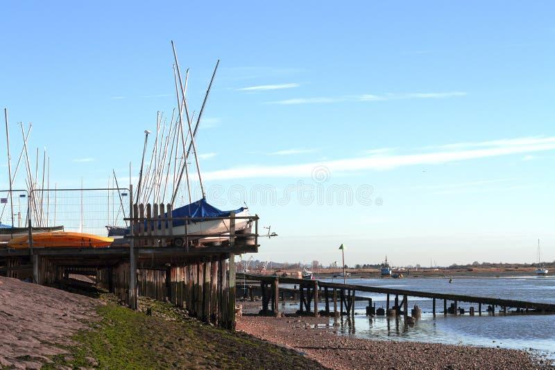 Boatyard em Leigh imagem de stock royalty free