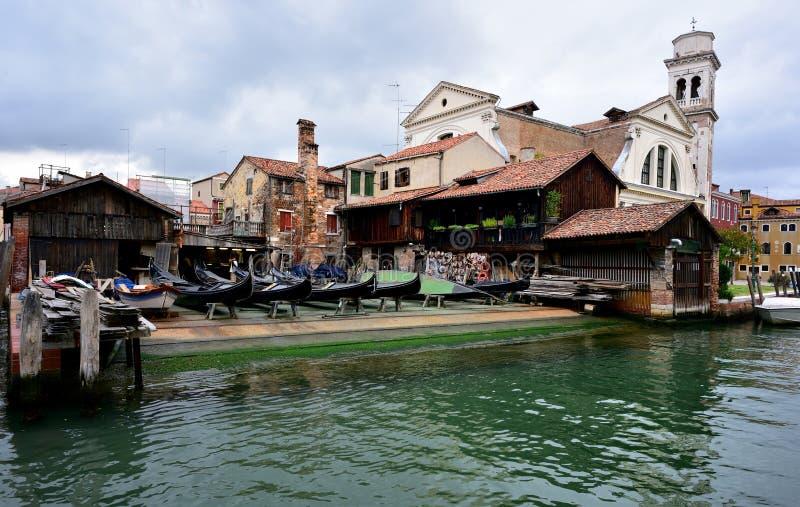 Boatyard in Venetië, Italië stock fotografie