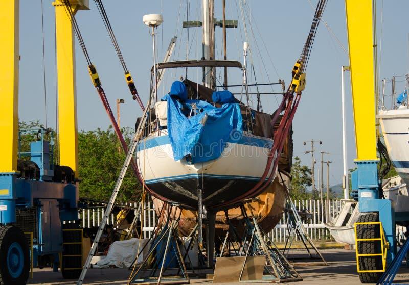 Boatyard w San blas, Mexico fotografia stock