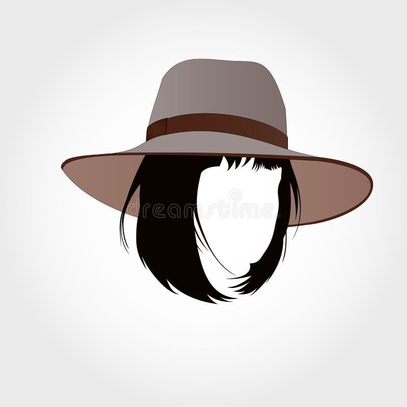 Bob cut silhouette in hat stock photos