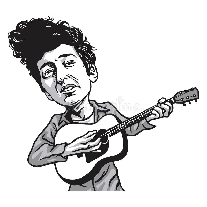 Bob Dylan Cartoon Playing Guitar illustrazione vettoriale