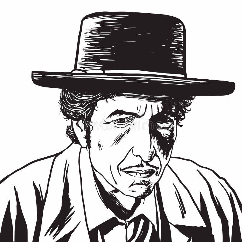 Bob Dylan ręka Rysujący Rysunkowy portret, karykatura wektor ilustracja wektor