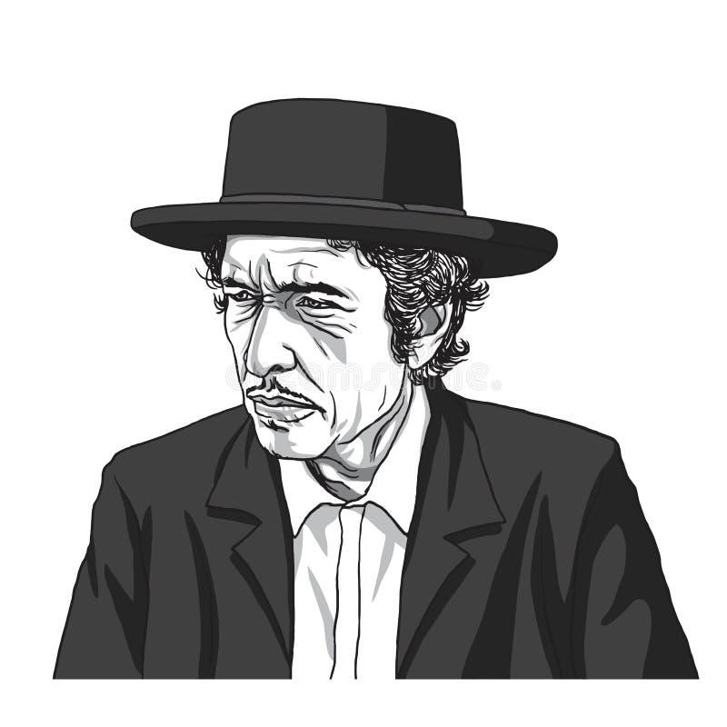 Bob Dylan Wektorowy Ilustracyjny rysunek Wrzesień 11, 2017 royalty ilustracja