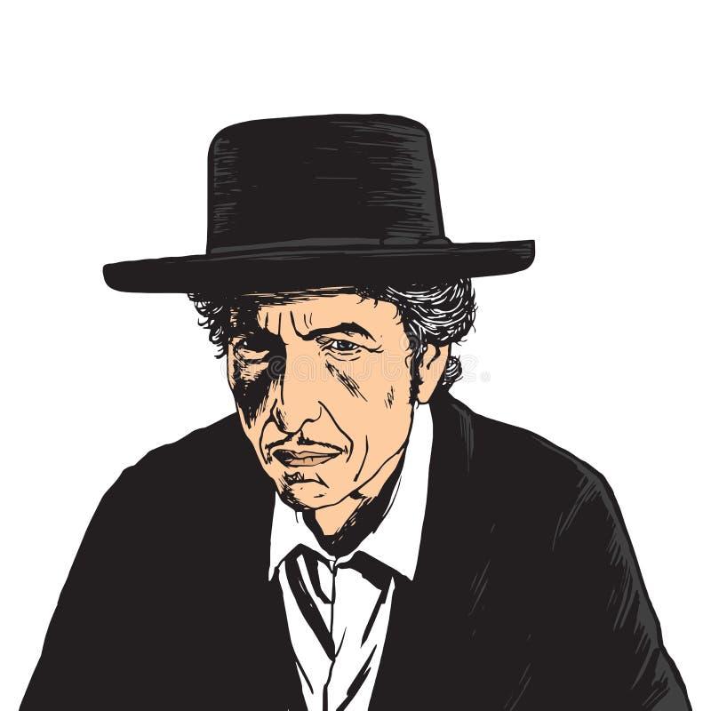 Bob Dylan wystrzału sztuki Wektorowy portret