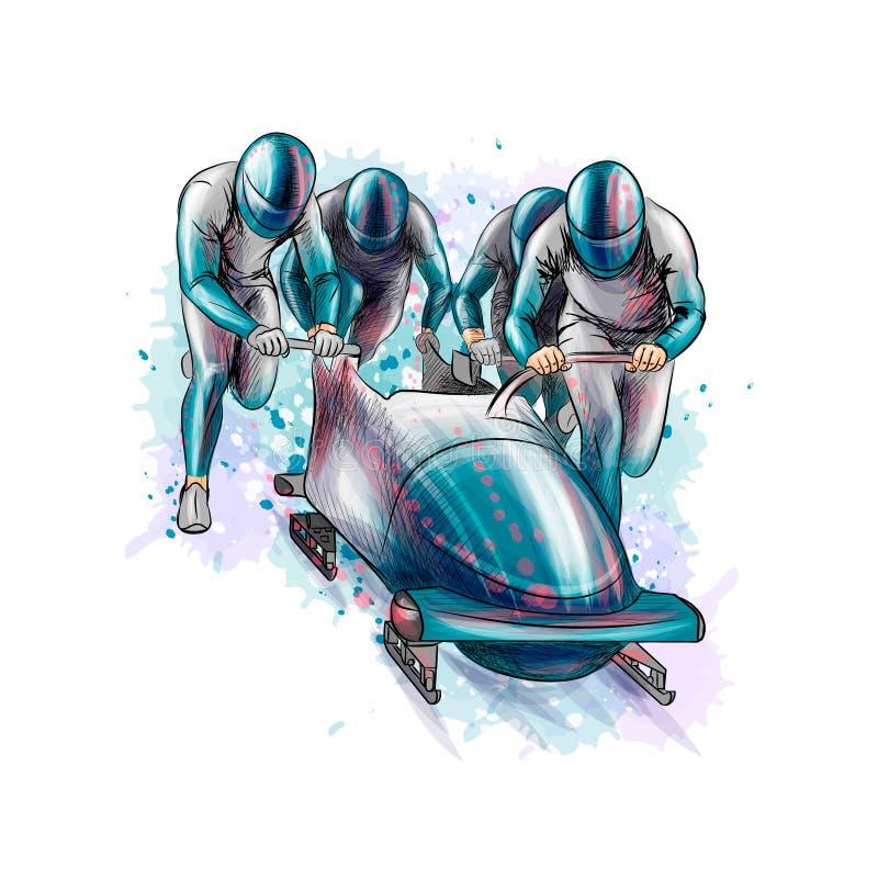 Bob für vier Athleten vom Spritzen von Aquarellen Sportausrüstung für das Bobrennen Skispuren im Schnee lizenzfreie abbildung