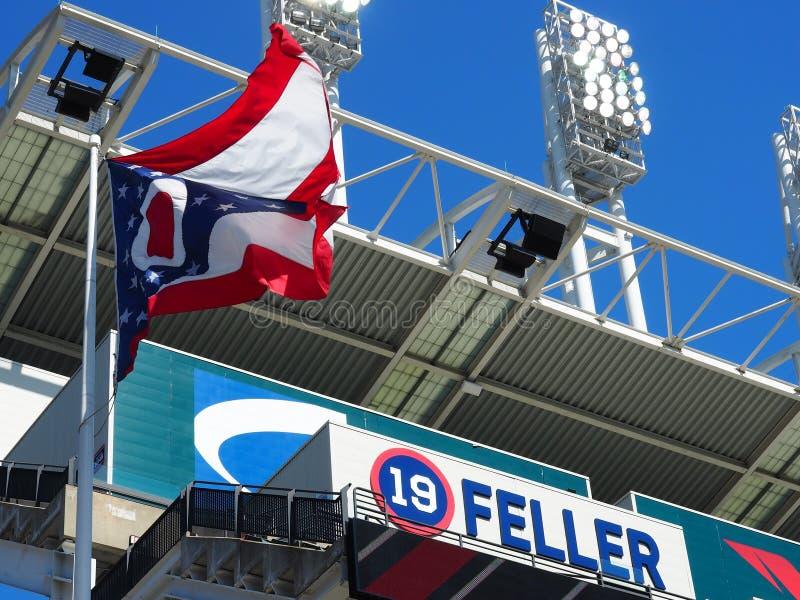 19 Bob Feller - campo progressivo - bandeira de Cleveland - de Ohio - EUA fotografia de stock