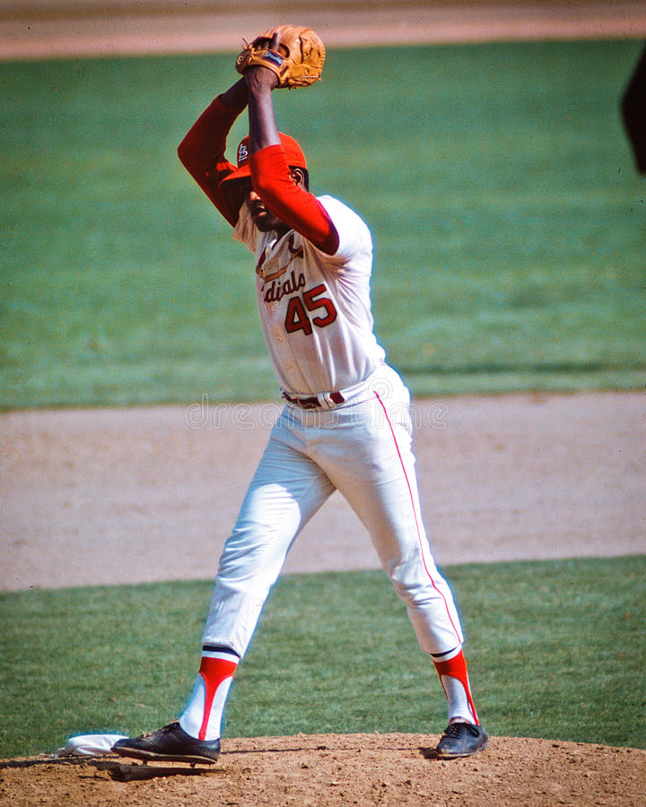 Bob Gibson St. Louis Cardinals. Former St. Louis Cardinals legend and Hall of Fame pitcher Bob Gibson #45. (Image taken from color slides royalty free stock photo