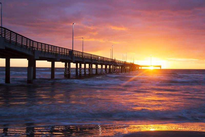 Bob Hall Pier, Padre Balli Park, Corpus Christi, Texas. Sunrise with Beautiful Colors stock images