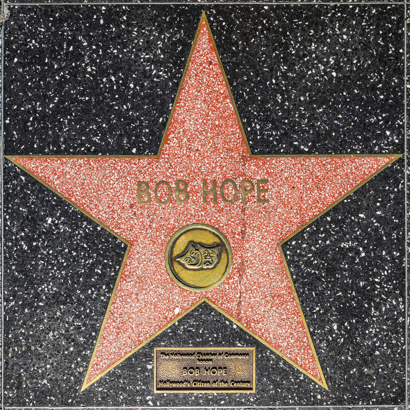 Bob Hope`s star on Hollywood Walk of Fame stock photography