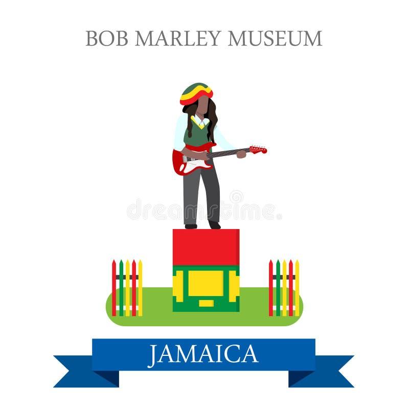 Bob Marley Museum i gränsmärken för dragning för Jamaica vektorlägenhet stock illustrationer