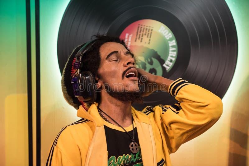Bob Marley, wasbeeldhouwwerk, Mevrouw Tussaud stock fotografie