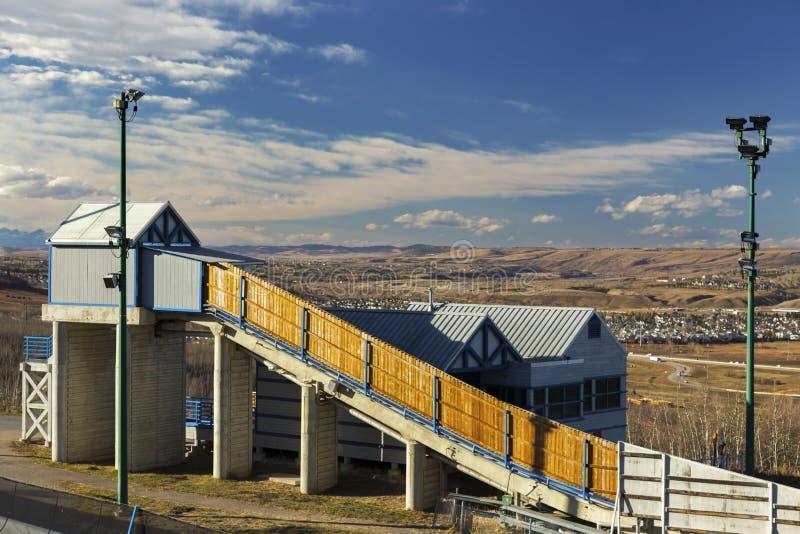 Bob Sleigh Winter Sport Structure-Olympische het Parkcop Calgary Alberta van Faciliteitencanada stock foto's