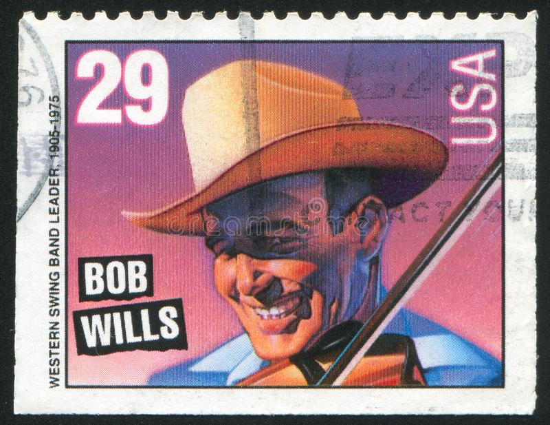 Bob Wills. UNITED STATES - CIRCA 1993: stamp printed by United states, shows Bob Wills, circa 1993 stock photo