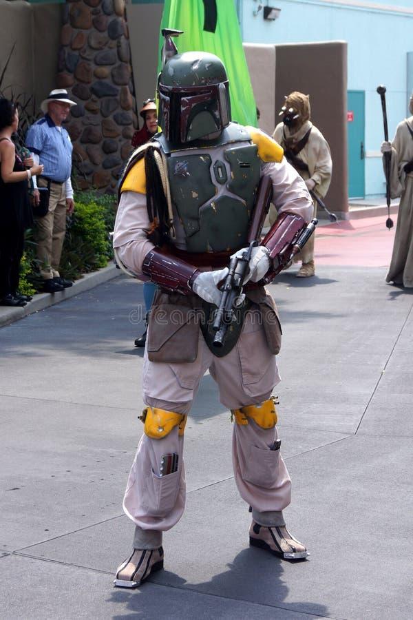 Boba Fett em fins de semana de Star Wars no mundo de Disney fotos de stock royalty free