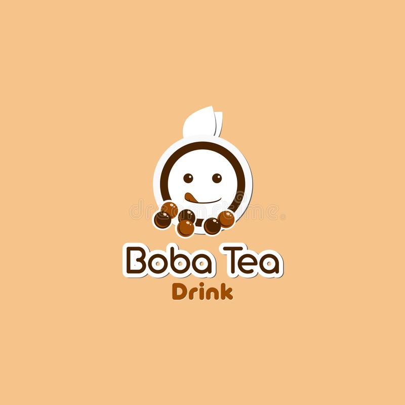 Boba Tea Drink. Illustration beverage logo with cartoon and modern style stock illustration