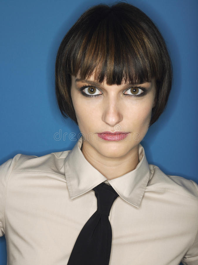 Free Bobbed Haired Young Woman Wearing Tie Royalty Free Stock Photography - 31830467