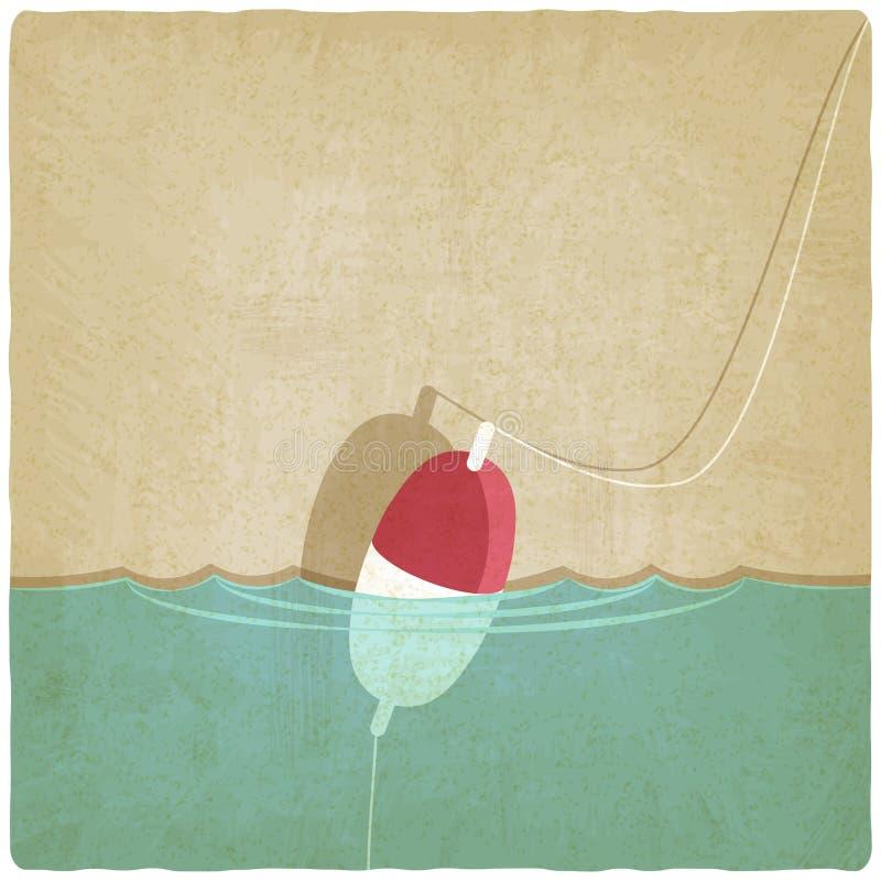 Bobber som fiskar gammal bakgrund stock illustrationer