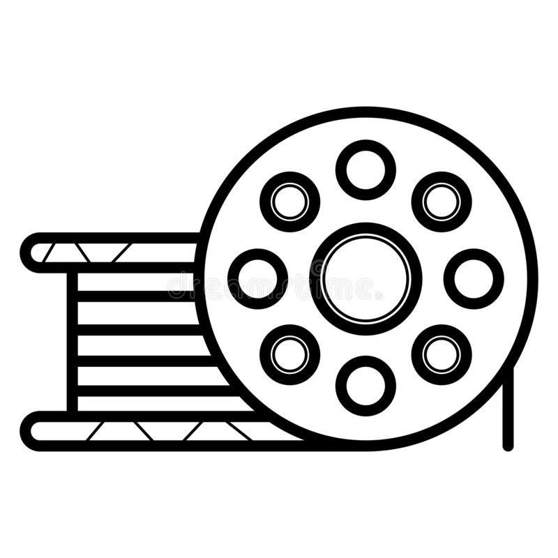 Bobbin icon. Film bobbin. Roll, bobbin, coil, reel, spool, winder. Vector stock illustration