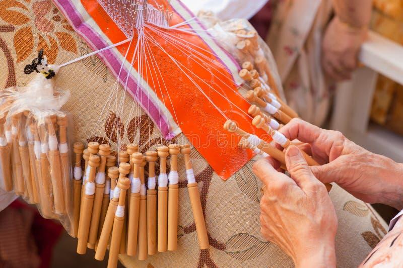 Download Bobbin lace-making stock image. Image of filigree, skillful - 20125521