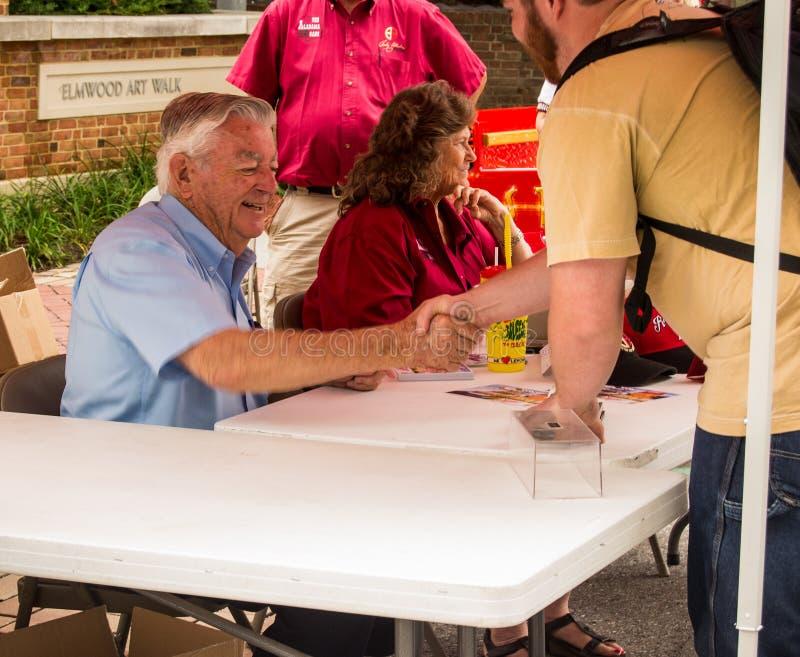 Bobby Allison Signing Autographs fotografering för bildbyråer