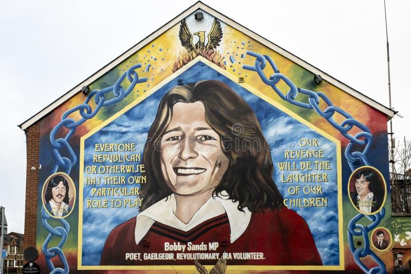 Bobby Bands-muurschilderij in Belfast, Noord-Ierland stock foto's