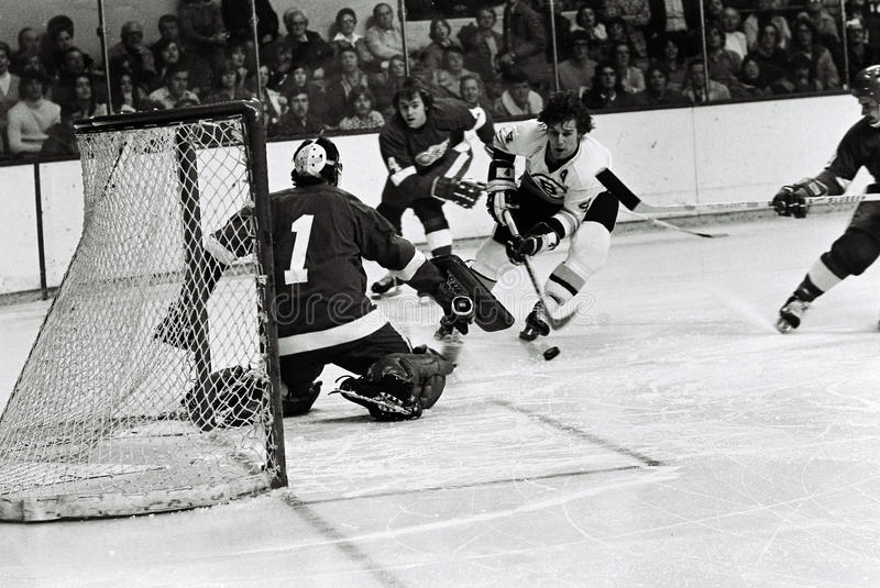 Bobby Orr Action Shot. Bobby Orr scores a goal against the Detroit Red Wings stock photos