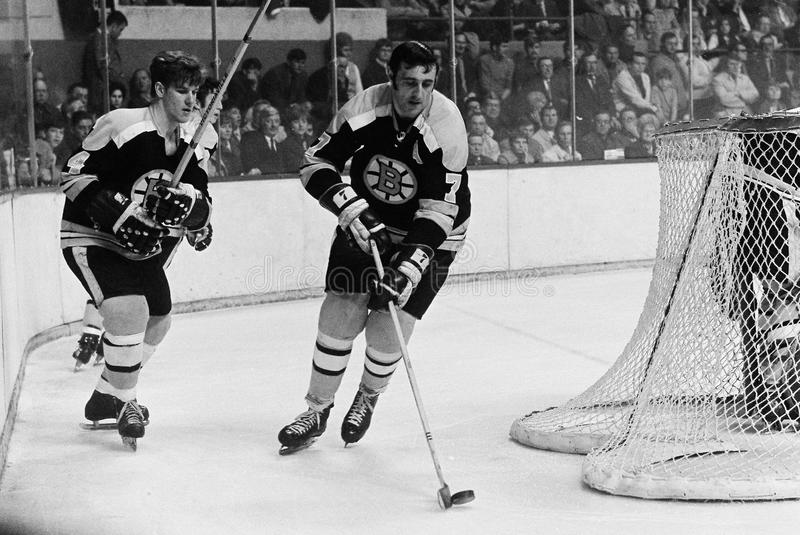 Bobby Orr & Phil Esposito Boston Bruins royaltyfri fotografi