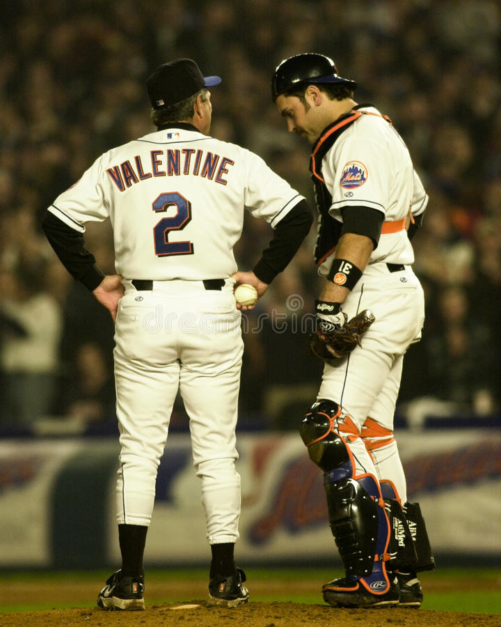 Bobby Valentine et Mike Piazza photographie stock