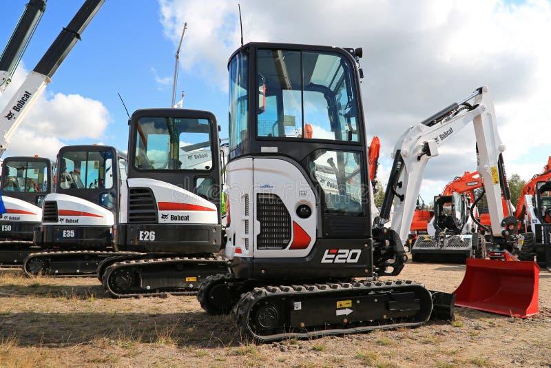 Bobcat Compact Excavators op Vertoning stock foto