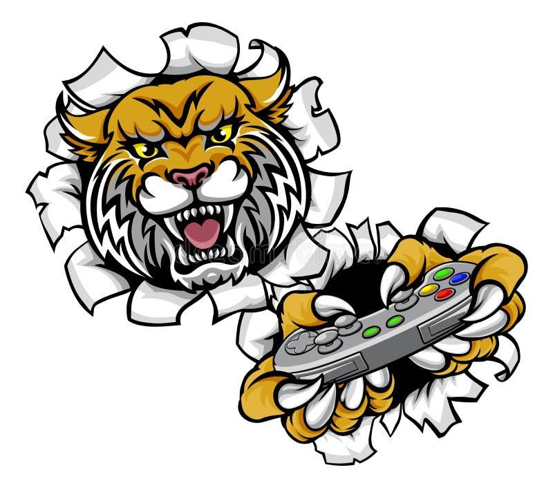 Bobcat Esports Gamer Mascot desorganizado ilustração stock