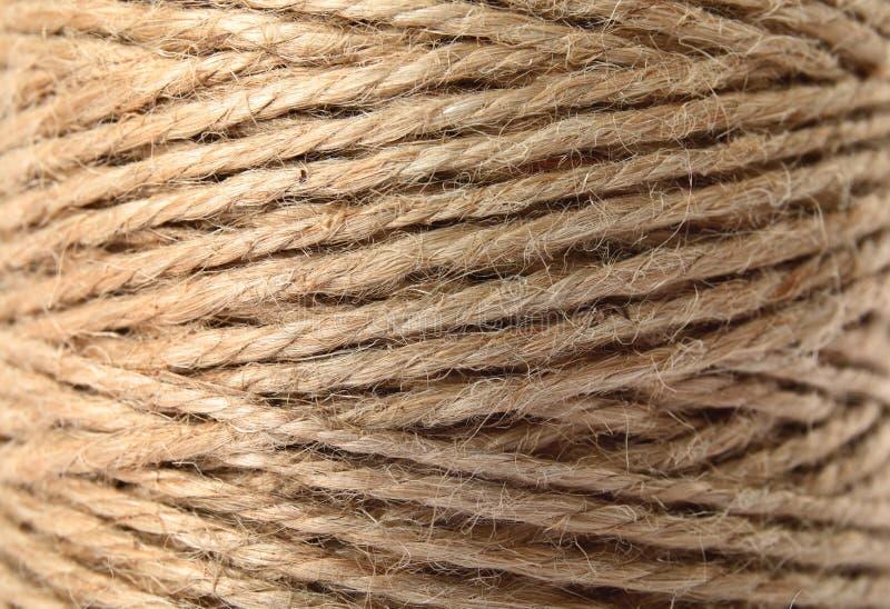 Bobina con la corda della canapa, primo piano immagine stock libera da diritti