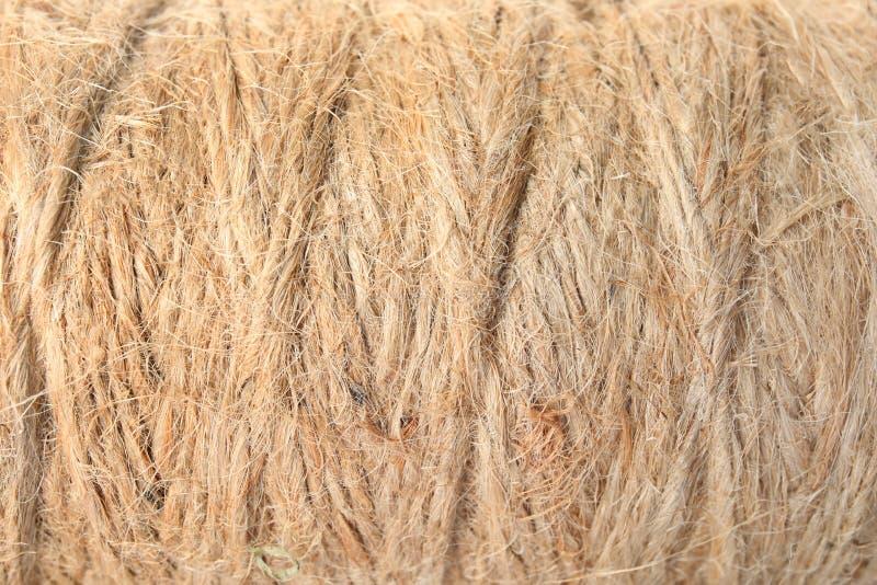 Bobina con la corda della canapa, primo piano fotografia stock libera da diritti