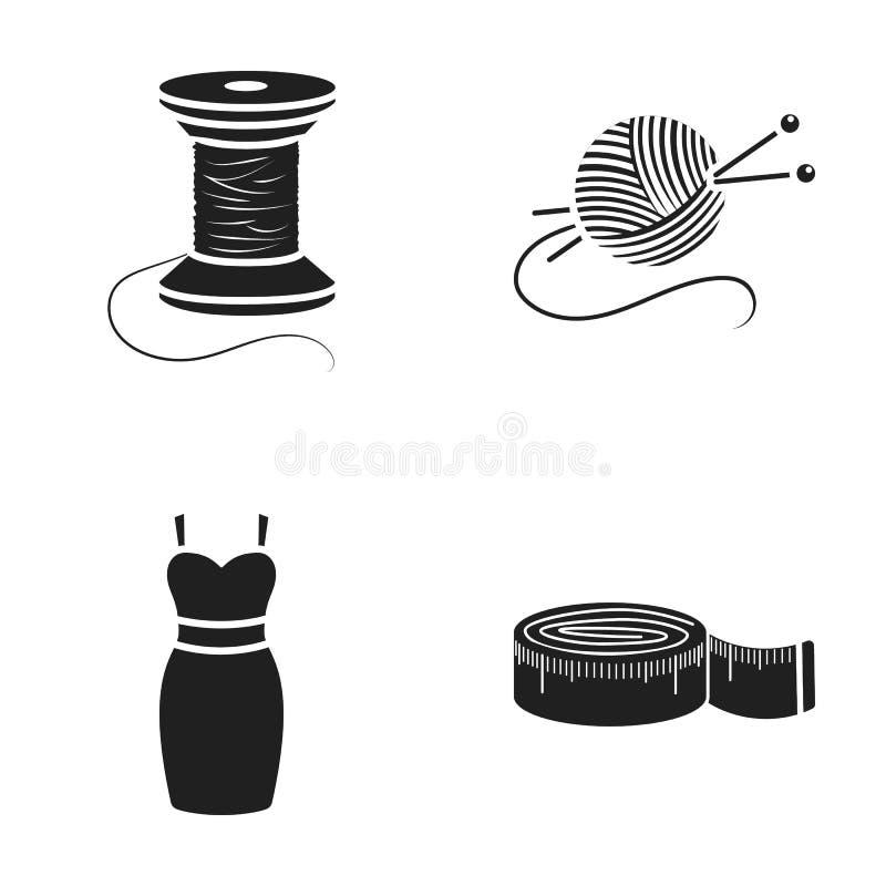 Bobina da linha, centímetro, vestido, bola da linha com agulhas de confecção de malhas Ícones ajustados da coleção da oficina no  ilustração royalty free