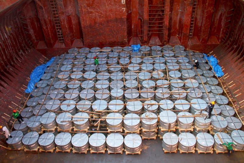 Bobina de aço horizontal imagens de stock