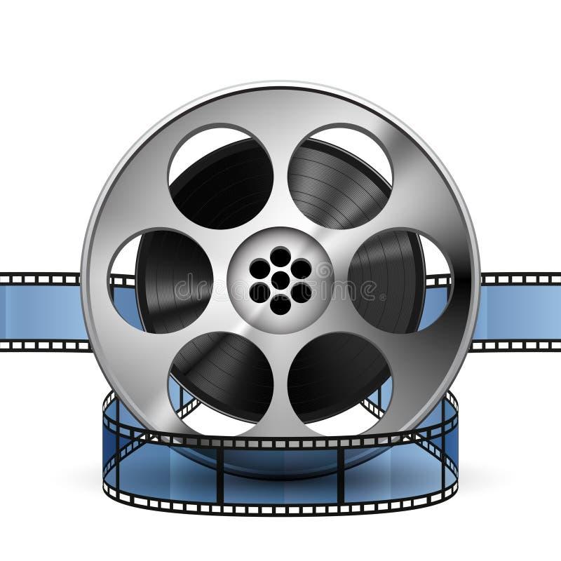 Bobina della striscia di pellicola 3d, vettore realistico illustrazione di stock