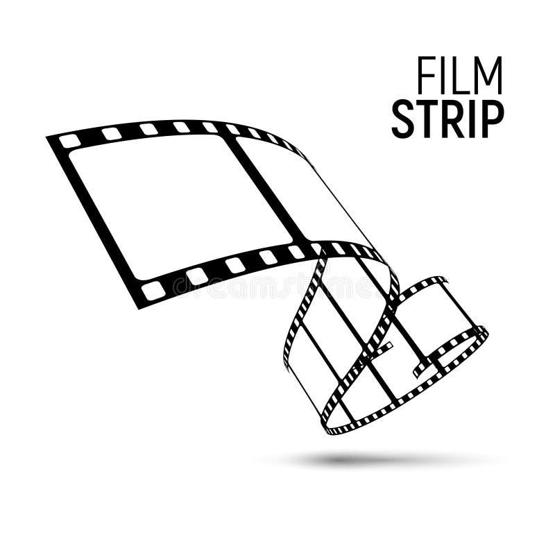 Bobina della striscia di pellicola di vettore Fondo del nastro della striscia di pellicola del cinema 3d di film royalty illustrazione gratis