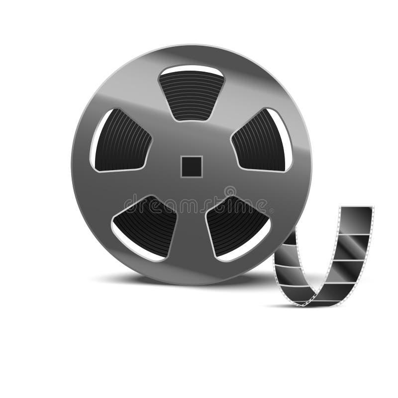 Bobina dettagliata realistica 3d del nastro del film Vettore illustrazione di stock